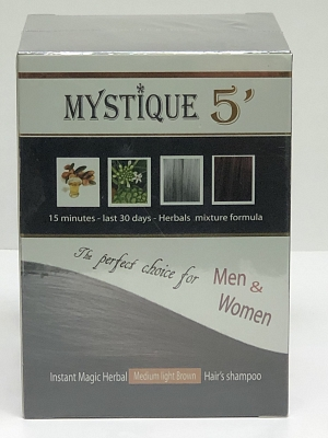MYSTIQUE 5' Magic Herbal Color Hair Shampoo (Medium Light Brown)